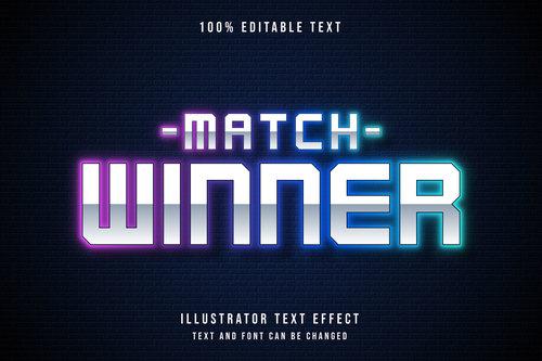 Match winner editable font effect text vector