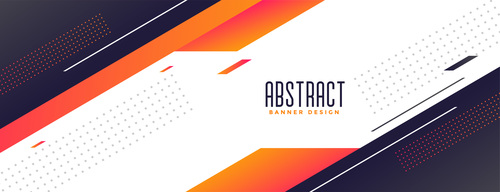 Memphis style modern banner with orange shapes vector
