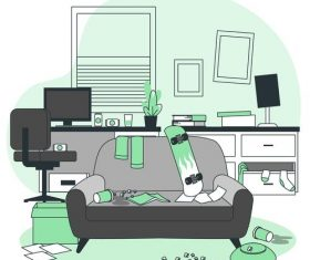 Messy room cartoon illustration vector