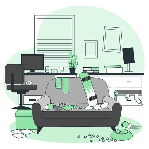 Messy room cartoon illustration vector
