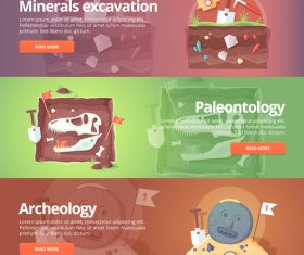 Minerals excavation set banner vector