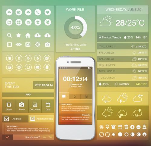 Mobile APP screen design vector