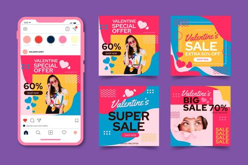 Mobile Valentines Day sales posts vector