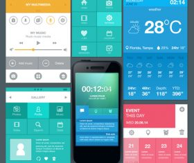 Mobile phone interactive interface design vector