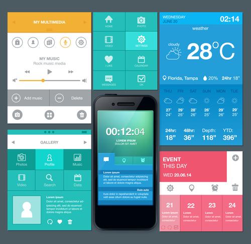Mobile phone interactive interface design vector