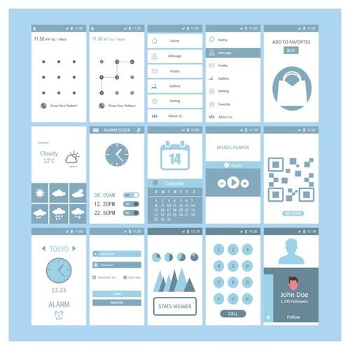 Mobile screen templates design vector