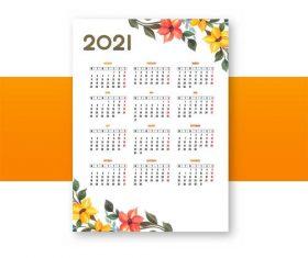 Modern 2021 calendar floral vector