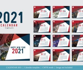 Modern design 2021 calendar template vector
