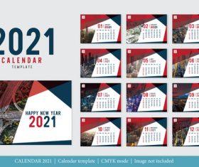 Modern design 2021 calendar template vector