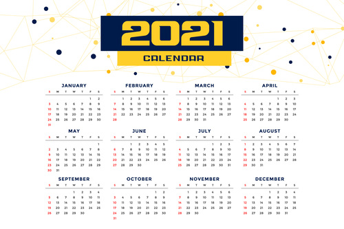 Modern simple style new year calendar template vector