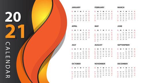 Modern wall calendar 2021 vector
