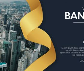Modern website banner with realistic golden ribbon vector