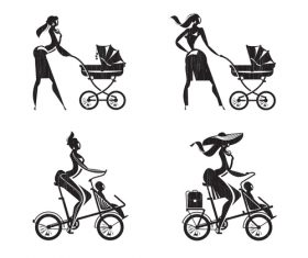 Mother and child silhouette vector