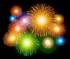 Multicolored fireworks vector