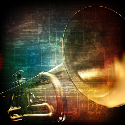 Music grunge retro background with brown trumpet vector