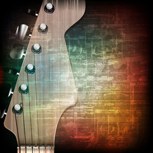 Music grunge vintage background with guitar vector