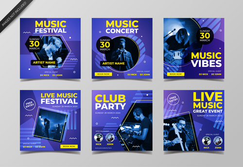 Music nightclub poster design vector