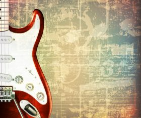 Music symbol retro background with electric guitar vector