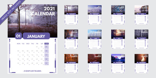 Nature background 2021 new year calendar vector