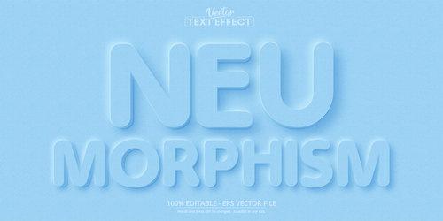 Neumorphism 3d editable text style effect vector