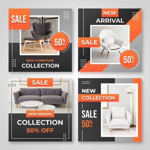 New season furniture collection vector