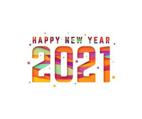 New year 2021 background paper style vector