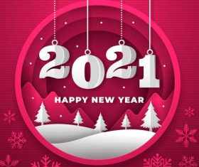 New year 2021 background paper style with trees vector