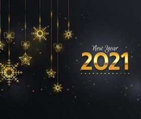 New year 2021 background with realistic golden decoration vector