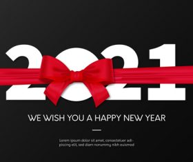 New year 2021 background with red ribbon vector