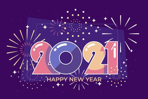 New year 2021 flat design vector