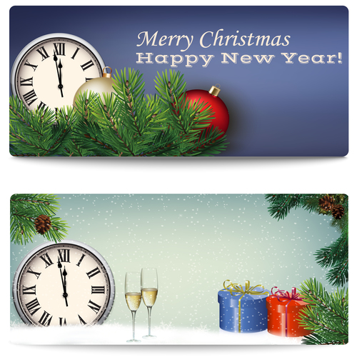 New year and merry christmas banner vector