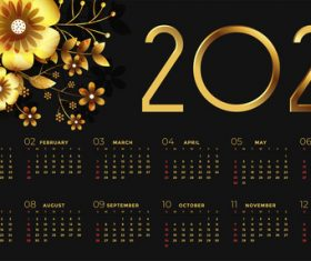 New year black golden calendar with flowers vector