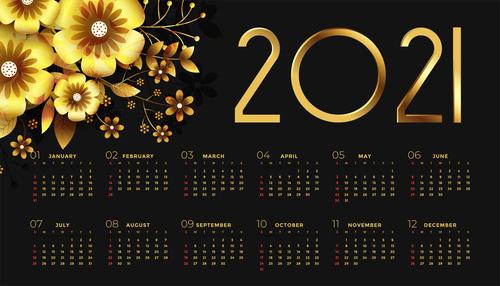 New year black golden calendar with flowers vector