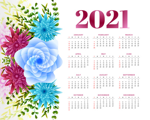 New year calendar with flower decoration vector
