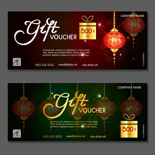 New year gift card voucher vector