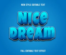 Nice dream editable font effect text vector