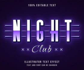 Night club editable font effect text vector