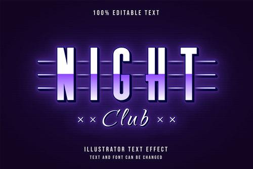 Night club editable font effect text vector