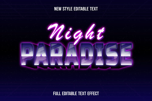 Night paradise text style effect vector