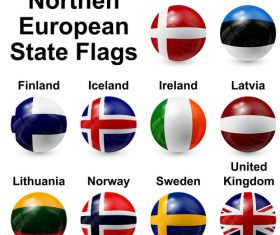 Northern european state flags vector