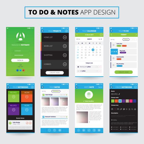 Notes mobile apps design vector