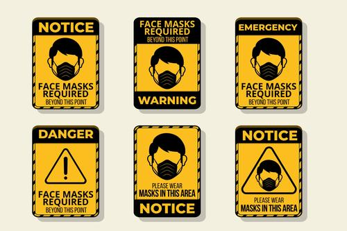 Notice facr masks required logo vector