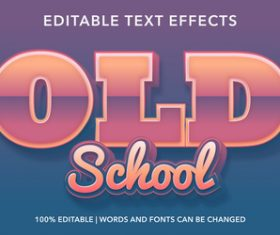 Old school editable font effect text vector