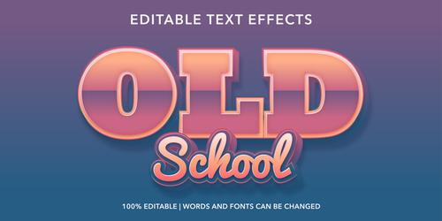 Old school editable font effect text vector