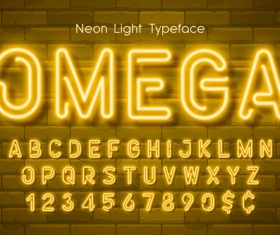 Omega and alphabet illustrator text style effect vector