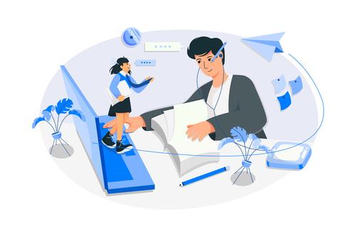 Online communication cartoon illustration vector
