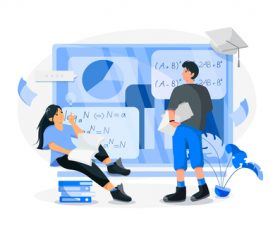 Online learning cartoon illustration vector