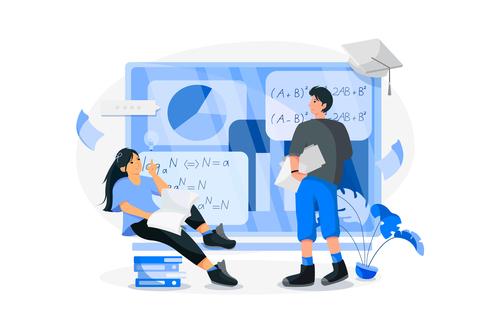 Online learning cartoon illustration vector