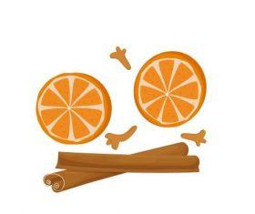Orange and cinnamon sticker vector