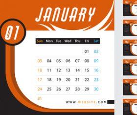 Orange desk calendar 2021 vector